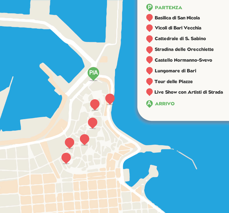 Mappa Percorso Bari Centro Storico